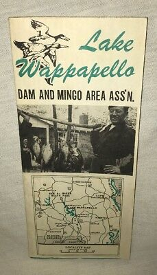 Rare 1940/1950s Lake Wappapello Dam & Mingo Area Ass'n Brochure Ad Locality Map