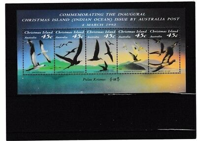 1993 Christmas Greetings from Christmas Island Indian Ocean miniature sheet. MUH