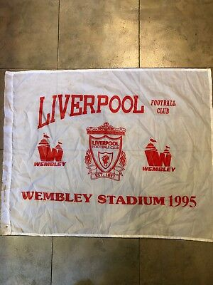 Liverpool FC Rare 1995 Wembley Flag Coca-Cola Cup Winners
