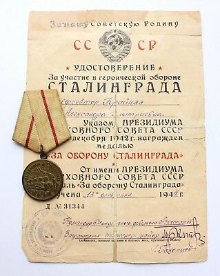 Original USSR Soviet Russian Medal For Defense of Stalingrad + DOC WWII CCCP See