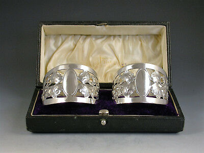 Cased Pair George V Pierced Silver Napkin Rings - English Roses (Christening)
