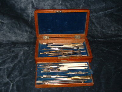 Technical Drawing Instruments in an Inlaid Solid Mahogany Box.