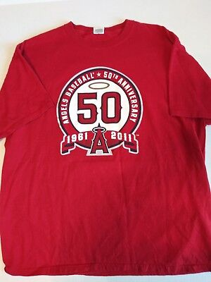 d4b5b6bb LOS ANGELES ANGELS 50th Anniversary 1961-2011 Baseball Red T-Shirt Mens  Size XL