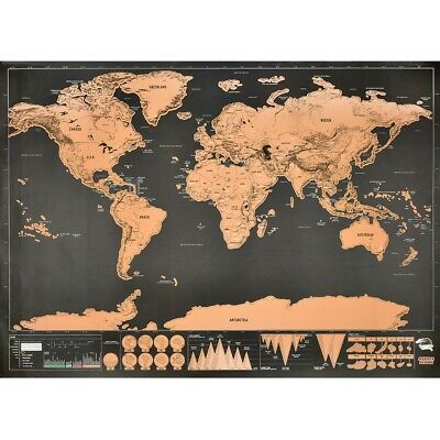 Great Deluxe Travel Edition Scratch World Travel Map World Map Poster For Kids