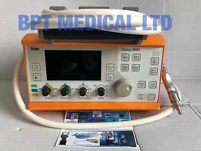 Drager Oxylog 3000 Ventilator with Hose Software Version 1.23 No power supply.