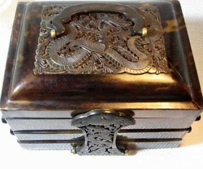 antique CHINA BOX Schatulle  chinesisch Schildpatt um 1900