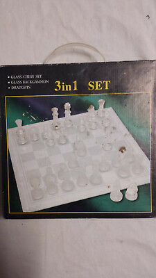 Glass Chess, Backgammon and Draughts set