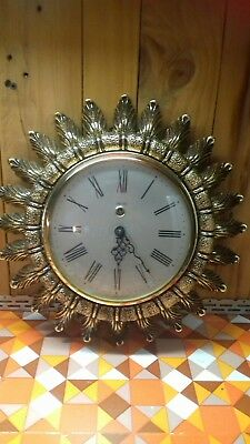 Smiths Ornate Sunburst 8 Day Wall Clock With Key. Excellent Working Condition