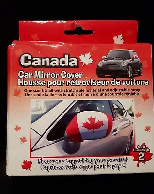 Canada Flag car mirror covers one size fits all stretchable with strap new