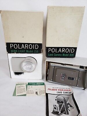 VTG Collectible Polaroid 80B Land Camera and Wink-light In Boxes