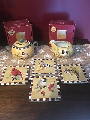 LENOX WINTER GREETINGS EVERYDAY BY CATHERINE McCLUNG CREAM & SUGAR & 4 COASTERS