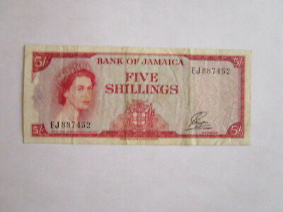 1960 Bank of Jamaica - Five Shillings - Obsolete - Replaced by JMD (J$)