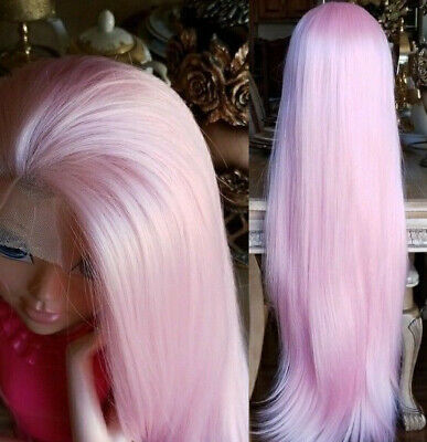 """AU 24"""" Heat Resistant Hair Straight Light Pink GlueLess Lace Front Wig Full Head"""