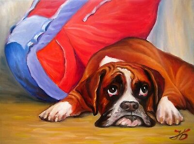 """""""MISERABLE BOXER PUPPY"""" 18X24"""" HAND PAINTED CUSTOM DOG OIL PAINTING N. Bykova"""
