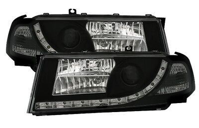 jogo Faros Optica LED diurnas Skoda Octavia 1 I 2000-2004 Luz do Dia Preto ES LP