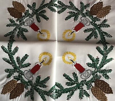 Beautiful Vintage Hand Embroidered Tablecloth ~ Christmas