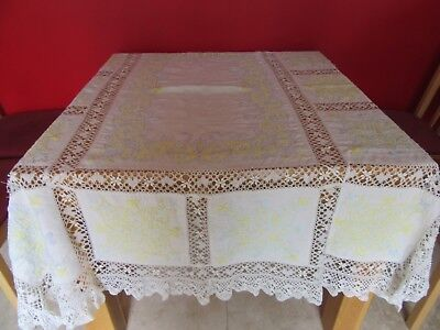 Stunning Vintage Wedding /Tea party Hand embroidered & Lace  Linen Tablecloth