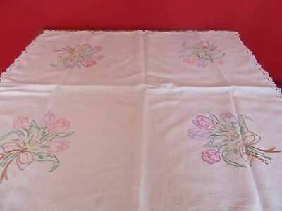 Beautiful Vintage Wedding /Tea party hand embroidered & lace  linen Tablecloth