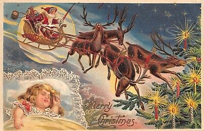 Santa and his sleigh are dreams of child sleeping---1908
