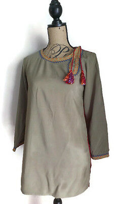 Zardozi 100% Cotton Hand Embroidered 3/4 Sleeve Tunic Size S Olive Red Pakistan