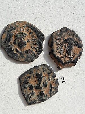 Lot Of 3 Ancient Byzantine Bronze Coins.