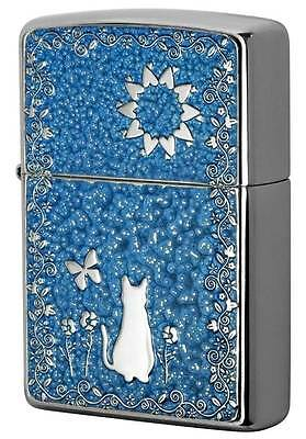 Zippo Cute Cat Flower Butterfly Blue Both Sides Metal Plate Japan Limited F/S