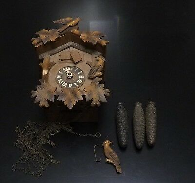 Vintage Antique Triple Weight Musical Chime Strike Cuckoo Clock For Restoration