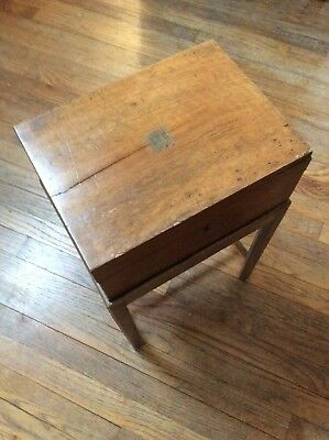 Antique Walnut Tobacco Humidor Box With Stand