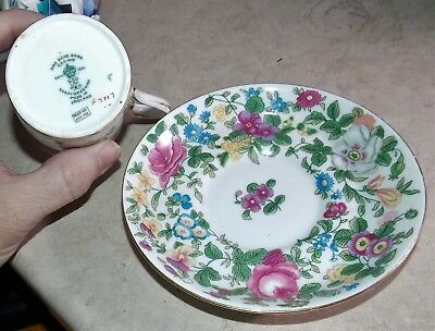 Crown Staffordshire Demitasse Cup Saucer Pink Rose England Red F7117  622733