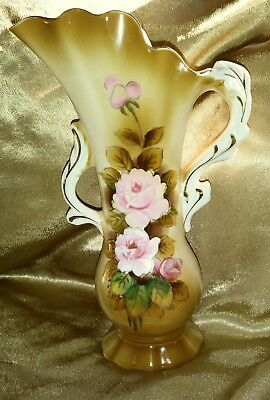 VTG Elegant Gold Accent Scalloped Lipper and Mann Creations Japan Rose Vase Gold