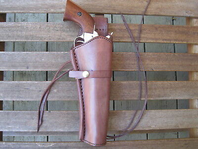 """Western Holster - 8""""  Barrel - Right Handed - Brown - Smooth - Leather"""