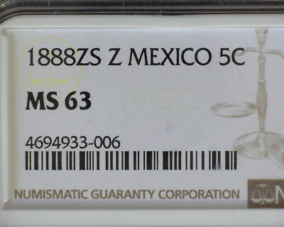 MEXICO 1888 Zs Z SILVER 5 CENTAVOS NGC MS 63 (PROOFLIKE SURFACE)