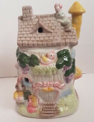 Vintage rabbit house cottage children's money box piggy bank girl gift
