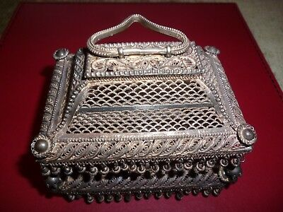 Antique Silver Filigree Wire Casket Box Spice Indian Great Xmas Present c1890s