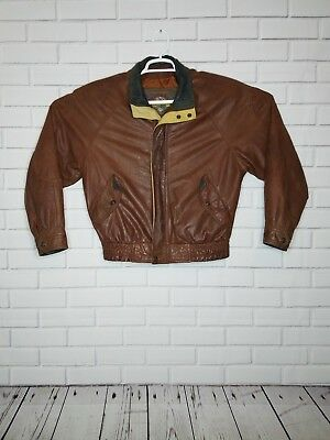 Adventure Bound Womens Leather Bomber Jacket Size Small