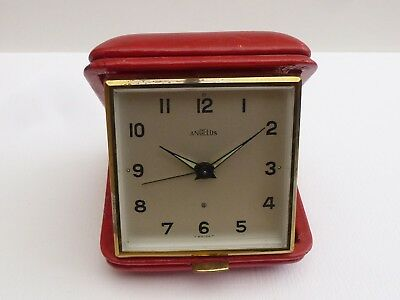 A Vintage Angelus Red Swiss 8 Day Travel Alarm Clock A/f