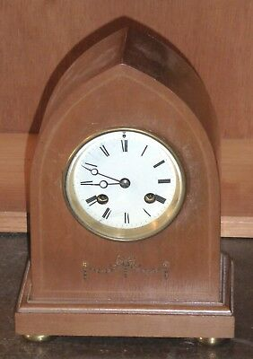 Lovely early 20th C mantel clock, French Brevet movement, working on and off