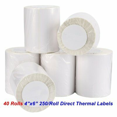 40 Rolls 250 Direct Thermal Shipping Labels 4x6 For Zebra LP2844 ZP450 Eltron