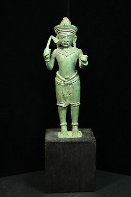 Rare Ancient Khmer Bronze Statue of Avalokitesvara 12th cent. Bayon Style