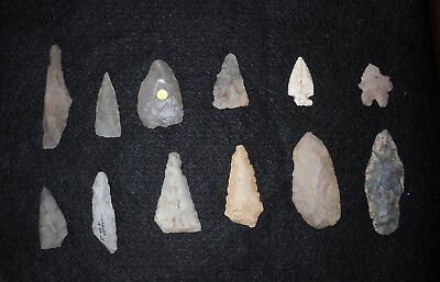 INDIAN Artifacts ARROWHEADS OHIO NICE AUTHENTIC COLLECTION OF 12 POINTS AACA