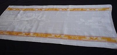 old linen kitchen Runner Towel with ARt Deco pattern and yellow / lilac stripes