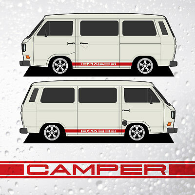 Camper TripleSide Stripes - to fit  VW T25 T3 Transporter - 29 Colours Available