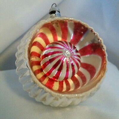 Vintage Jumbo Indent Red White Ball Reflector Mercury Glass Christmas Ornament