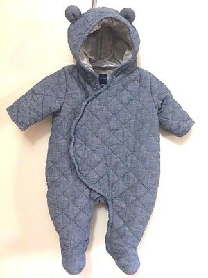 Baby Gap Quilted Bunting 0-3 months Blue Denim  Soft Jersey Lined w Bear Ears