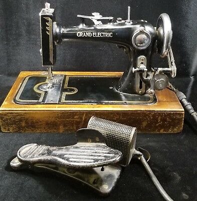 VERY RARE Antique NATIONAL GRAND ELECTRIC Sewing Machine Portable WORKS!