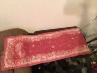 """Williams Sonoma Twas the Night Before Christmas Red Table Runner 88"""" x 17.5"""