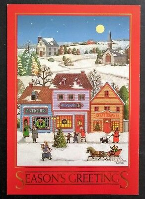 vintage scottish terrier christmas card dog scottie 19th century town snow