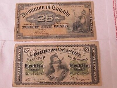 Dominion of Canada - 25 cents notes - 1870 and 1900   Fine Cond.  NICE Looking