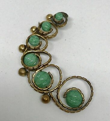 Antique Green Speckled Glass Brass Large Brooch