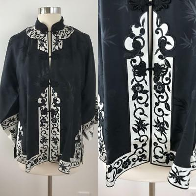NWT Vtg CHINESE Black + White Silk Jacket EMBROIDERED Flowers Chinoiserie S M